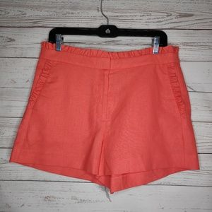 J.Crew Coral Pink Linen Blend Ruffle Shorts Size 8